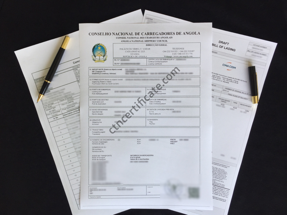A commercial invoice, a bill of lading and the CNCA certificate for Angola with a pen on a black background.