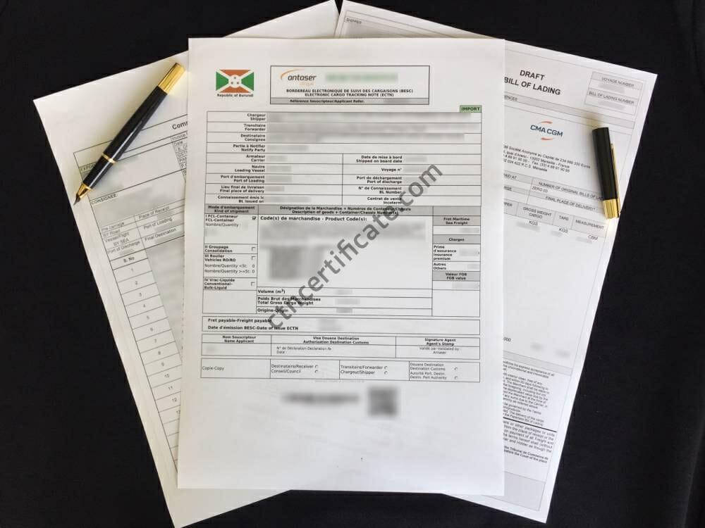 Burundi ECTN Certificate