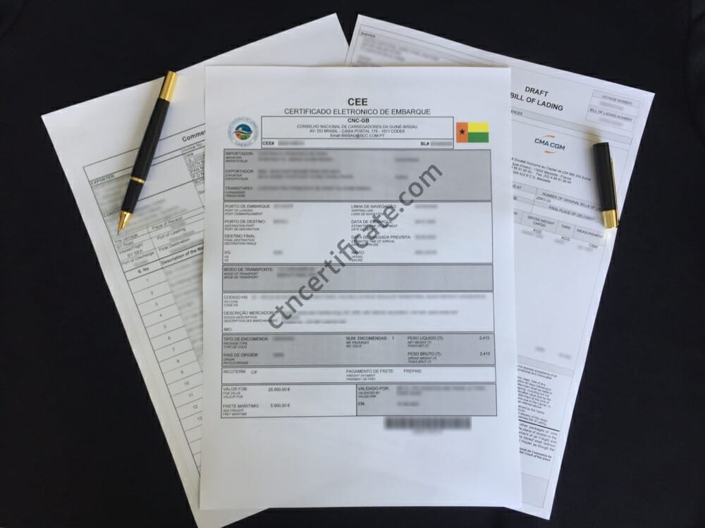 Guinea Bissau CEE Certificate