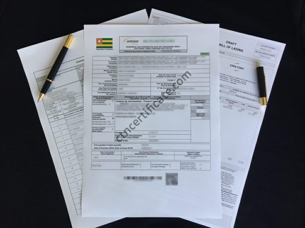 Togo ECTN Certificate